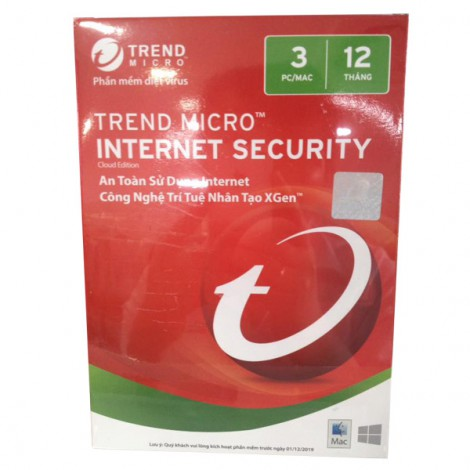 Phần mềm diệt Virus Trend Micro Internet Security 3PC version 12 (2019)